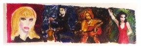 Allegori med fyra porträtt av olika musiker; Nico, Johnny Cash,Cobain, PJ Harvey. Akryl på kraftigt papper. 4000 kr inkl frakt.