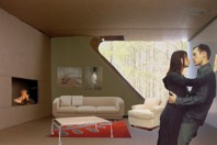 Fotomontage från modell på vardagsrum