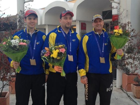 Laget som vann bronset. Carl Henrik Gidensköld, Magnus Carlsson och Morgna Lundin