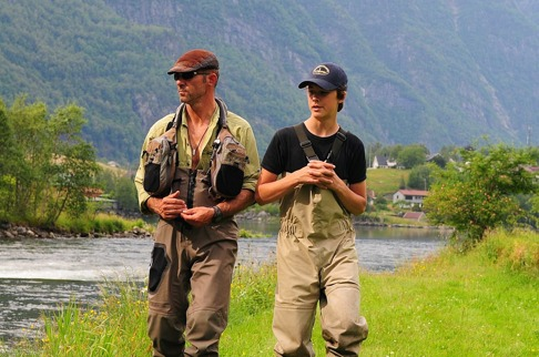 Micke and his oldest son Gustav in River Aa. Photo Thomas Thore
