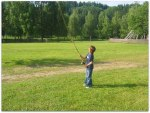 My oldest son Hampus here 9 years old, practicing two-handed rod in Norway. Photo Thomas Thore