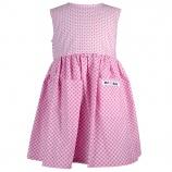 Rosa klänning med fickor.