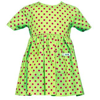 Klänning - Grön prick - Klänning -grön med cerise 74 cl