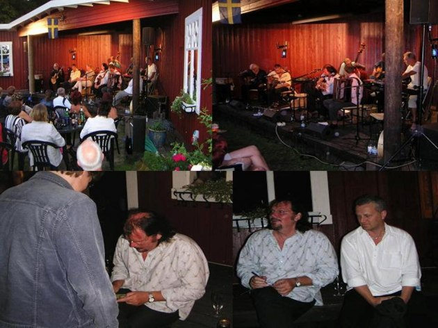 Skivsignering efter konserten. Ola med artistkollegan Rolf Carlsson. Foto: © Olof Björner
