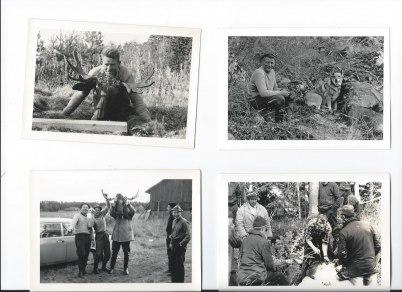 Överst , Gustav på Sätra. Underst f.v.Sverker, Sven Hallenningen, Birger i Stan  mfl. Till höger, Bengt på Udden passar en älg, beskådad av beundrande jägare.