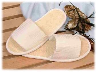 Luffa tofflor - ömsint massage & peeling för dina fötter - Luffa tofflor storlek 43