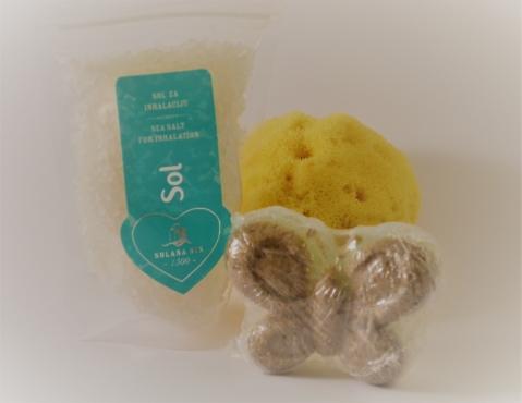 Inhalation presentpaket - 130gr salt för inhalation, mjukgörande tvål cirka 75gr samt naturlig havssvamp 10-13cm