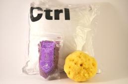 Lavendelkudde CTRL med badsalt och duschsvamp