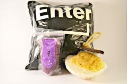 Lavendelkudde Enter med badsalt och duschsvamp