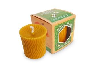 Blockljus av bivax - med räfflat mönster - Blockljus av bivax, bredd 64mm, höjd 70mm, 1-pack
