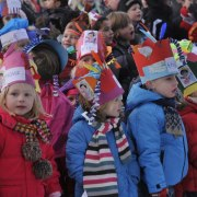 Dutch school children waiting for Sinterklaas