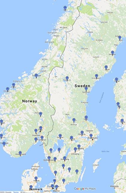 Karta över terminaler