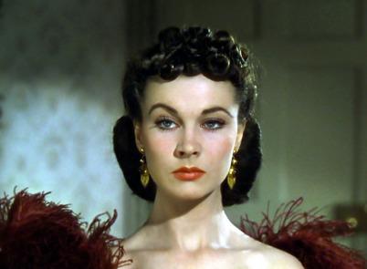Vivien Leigh i rätt röd i Borta med vinden, 1939.