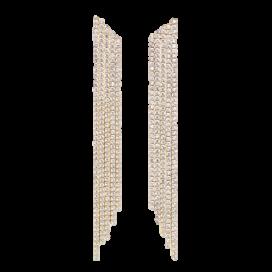 Guldfärgade strassörhängen.