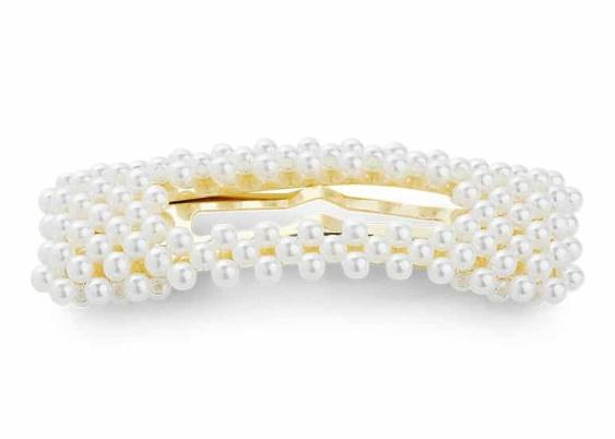 Sui Ava pärlhårspänne vit/guld