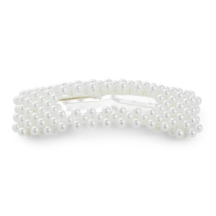 SUI AVA 30% - Pärlhårspänne, vit/silver