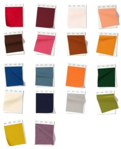 Säsongens huvudsakliga färgtrender.