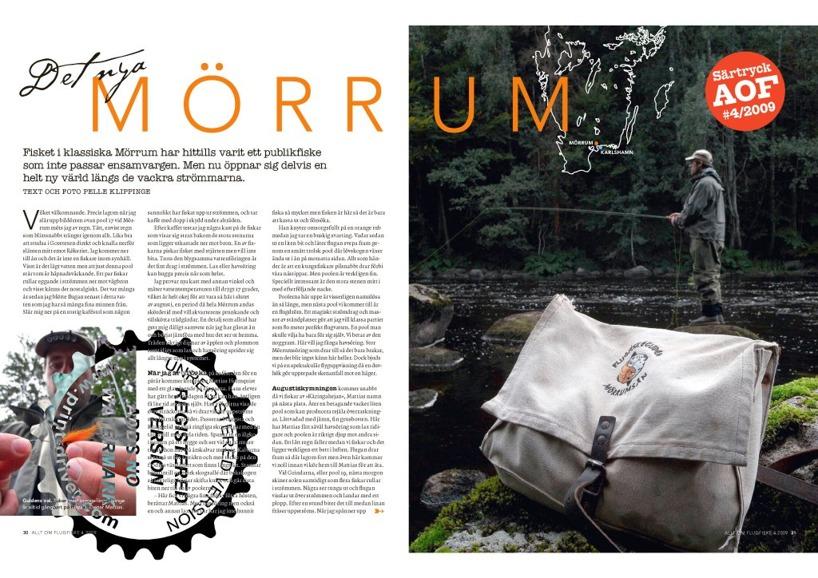 """""""Det nya Mörrum"""", Allt om Flugfiske 2009.                Text och bild: Pelle Klippinge Initierat och snyggt om Mörrums övre sträckor. Bl a bilder från Härnäs och Knaggelid. Ladda ner Pdf."""