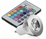 LED-LAMPA MED FJÄRRKONTROLL - GU10 3W