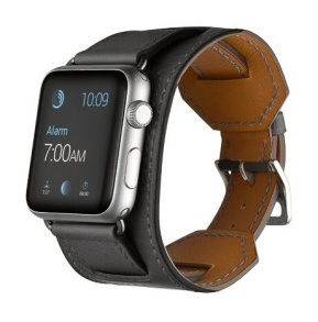 LÄDERARMBAND TILL APPLE WATCH 38mm - LÄDERARMBAND TILL APPLE WATCH 38mm -SVART