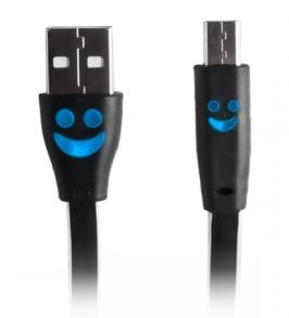 LADDKABEL-MICRO USB MED LYSANDE SMILEY - LADDKABEL-MICRO USB MED LYSANDE SMILEY