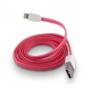 FÄRGAD PLATT USB KABEL TILL IPHONE 5 & 6 - PLATT USB TILL IPHONE 5 - ROSA