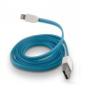FÄRGAD PLATT USB KABEL TILL IPHONE 5 & 6 - PLATT USB TILL IPHONE 5 -BLÅ