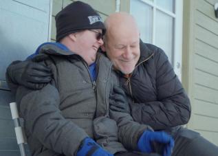 Martin och Tomas Norström under inspelningen av Party, problem och en rymdhjälte