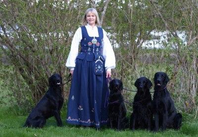 Bildet er tatt 17. mai. Vi går ikke kledd i bunad på utstilling. ;-)                                          Fra venstre er det Lily, Lotta, Nemi og Ace. :-)