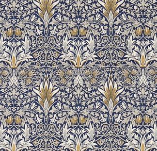 Tyg William Morris - Snakeshead - William Morris snakeshead Mörkblå