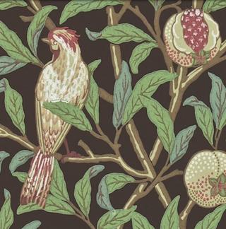 Tapet William Morris - Bird & Pomegranate - William Morris  Bird & Pomegranate Brun