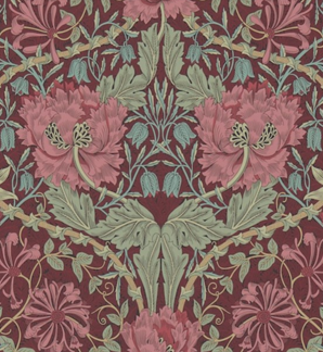 Tapet William Morris - Honeysuckle & Tulip  - William Morris Honeysuckle & Tulip Vinröd