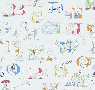 Tapet Kids - Alphabet Zoo - Tapet Kids - Alphabet Zoo Vit Multi