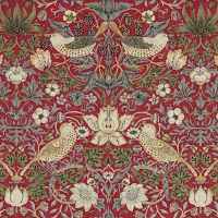Gardinlängd William Morris - Strawberry Thief Röd