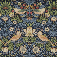 Gardinlängd William Morris - Strawberry Thief Mörkblå