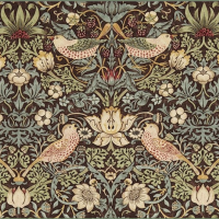 Gardinlängd William Morris - Strawberry Thief Brun