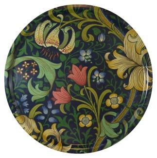 Rund bricka 46 William Morris - Golden Lily Mörkblå