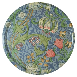 Rund bricka 46 William Morris - Golden Lily Ljusblå