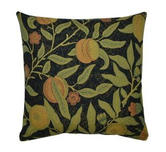 Kudde William Morris - Fruit vävd Svart