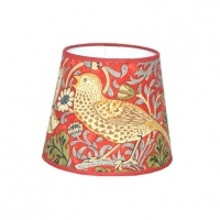 Lampskärm William Morris - Strawberry Thief rund 14 Röd