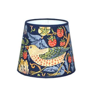 Lampskärm William Morris - Strawberry Thief rund 14 Blå