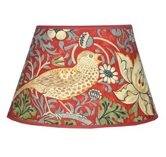 Lampskärm William Morris - Strawberry Thief Oval 17 Röd