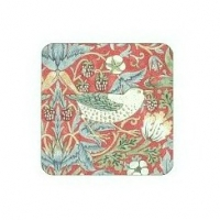 Coasters William Morris - Strawberry Thief Röd