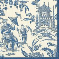 Pappersservett Caspari - Silk road blå