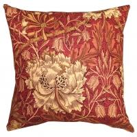 Kudde William Morris - Honeysuckle and Tulip Röd