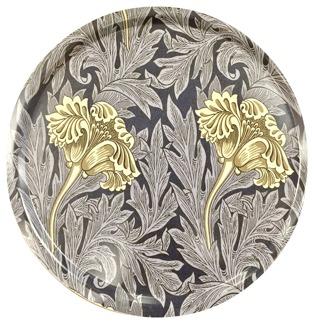 Rund bricka 46 William Morris - Tulip Mörkblå