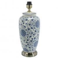 Li Jing Lampfot Porslin Blom Vit/Blå 49cm