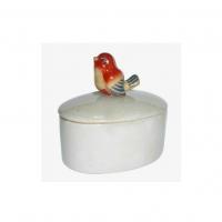 Poslinsask med fågel - Röd 12 cm