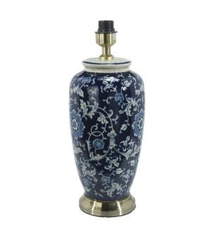 Li Jing Lampfot Porslin - Blom Mörkblå 49cm