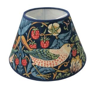 Lampskärm William Morris - Strawberry Thief rund 17 Blå